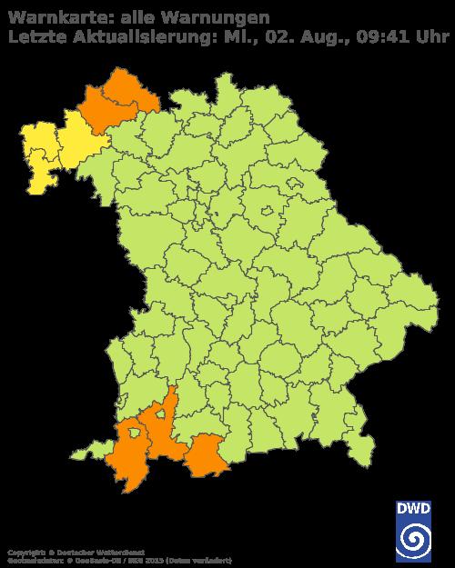 Aktuelle Wetterwarnungen für Landshut